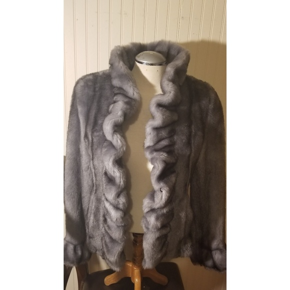 ea7cc30f3 Fabulous Furs Jackets & Coats | Donna Salyers Gray Faux Ruffle Mink ...